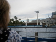Waiting for the dolphin show at the aquarium.