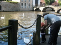 Saying hello to the swans.