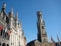 The clock tower in the main square of Bruge.