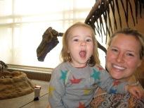 Nora making a dinosaur roar.