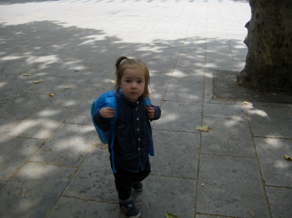 Home and in love with her backpack- thank you Grandma and Grandpa.