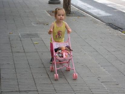 Still in love with her stroller.