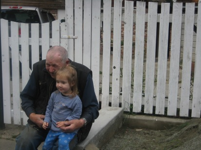 Great Grandpa and Nora at Great Grandpa's in Darcy.