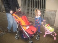 Nora and Dad each with a stroller.