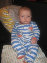 Max sitting up- he stayed this way throughout story time and a bit more.
