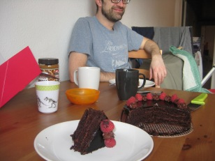 Chocolate and raspberry layers.
