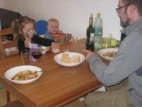 Family dinner time.