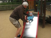Max's first time on a slide.