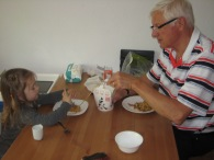 Nora loves noodles good thing Grandpa Regehr does too.